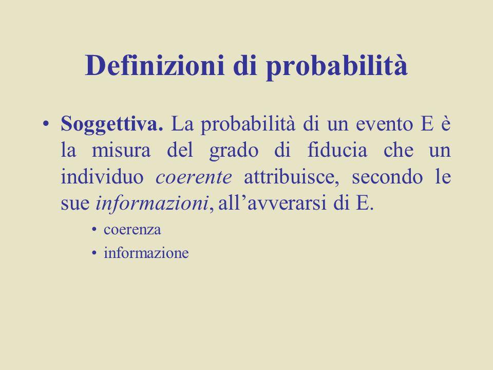 Definizioni di probabilità Soggettiva. La probabilità di un evento E è la misura del grado di fiducia che un individuo coerente attribuisce, secondo l