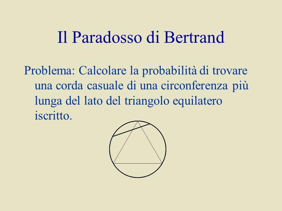Il Paradosso di Bertrand Problema: Calcolare la probabilità di trovare una corda casuale di una circonferenza più lunga del lato del triangolo equilatero iscritto.