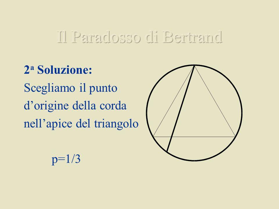 2 a Soluzione: Scegliamo il punto dorigine della corda nellapice del triangolo p=1/3