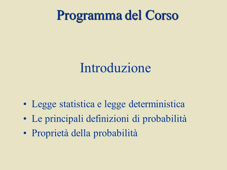 Introduzione Legge statistica e legge deterministica Le principali definizioni di probabilità Proprietà della probabilità Programma del Corso