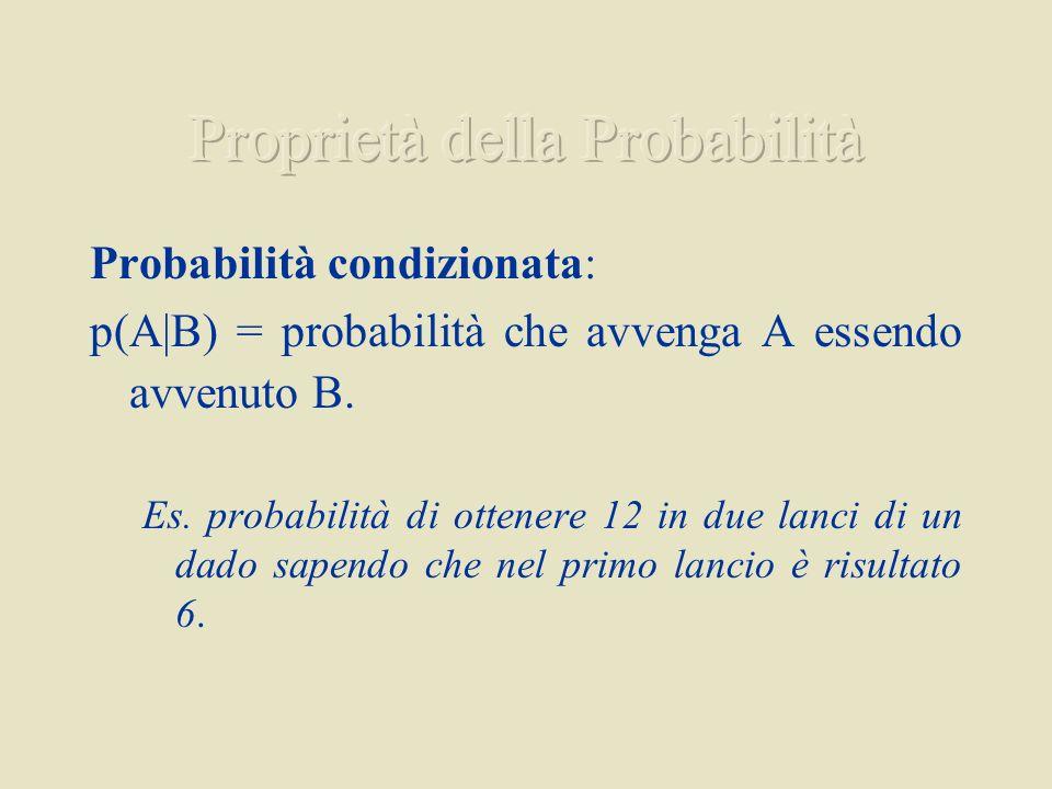 Probabilità condizionata: p(A B) = probabilità che avvenga A essendo avvenuto B. Es. probabilità di ottenere 12 in due lanci di un dado sapendo che ne