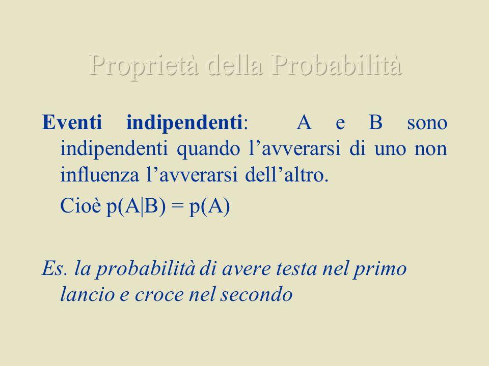 Eventi indipendenti: A e B sono indipendenti quando lavverarsi di uno non influenza lavverarsi dellaltro. Cioè p(A B) = p(A) Es. la probabilità di ave