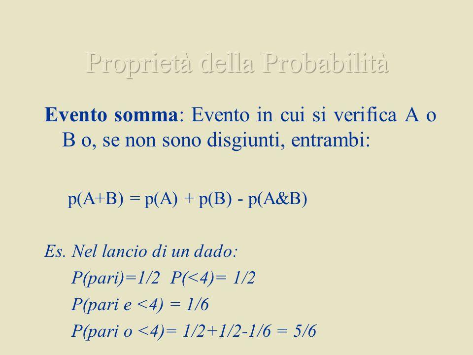 Evento somma: Evento in cui si verifica A o B o, se non sono disgiunti, entrambi: p(A+B) = p(A) + p(B) p(A&B) Es. Nel lancio di un dado: P(pari)=1/2 P