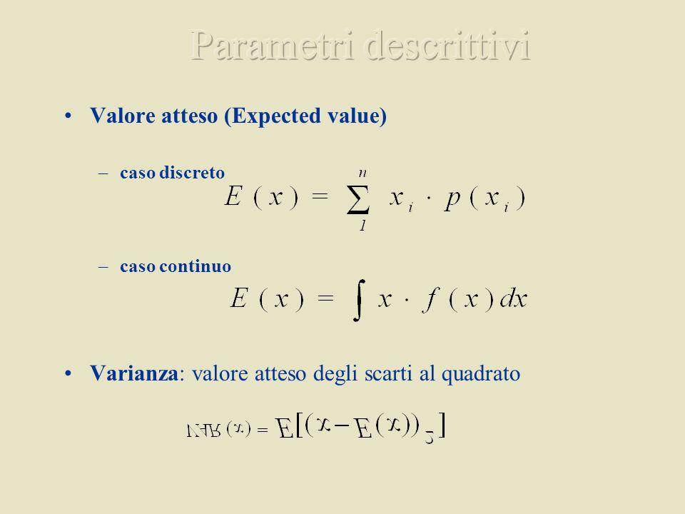 Valore atteso (Expected value) –caso discreto –caso continuo Varianza: valore atteso degli scarti al quadrato