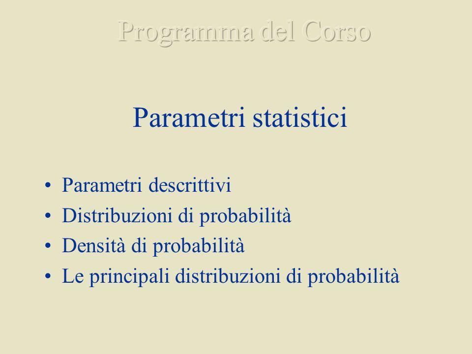 Parametri statistici Parametri descrittivi Distribuzioni di probabilità Densità di probabilità Le principali distribuzioni di probabilità