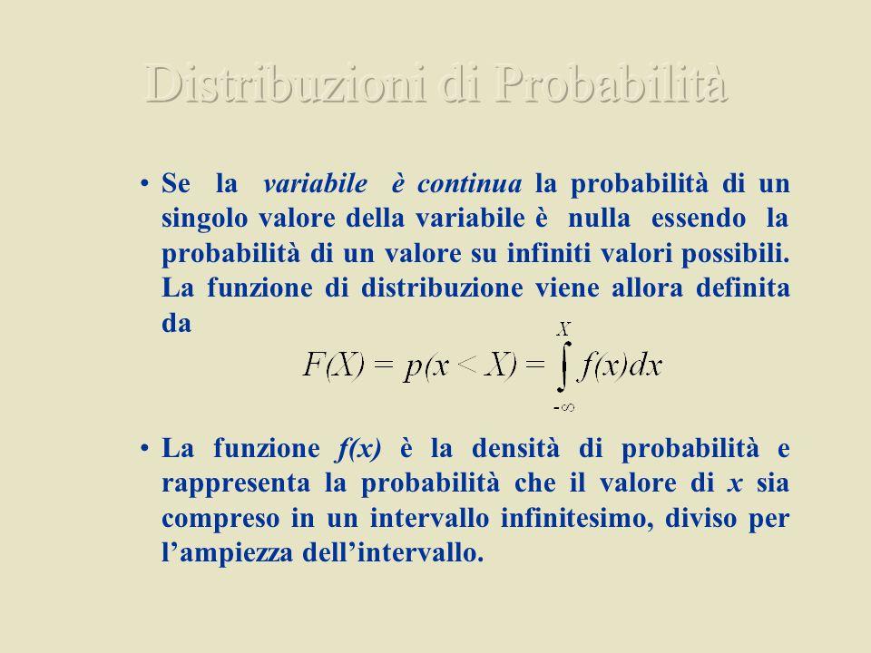 Se la variabile è continua la probabilità di un singolo valore della variabile è nulla essendo la probabilità di un valore su infiniti valori possibil