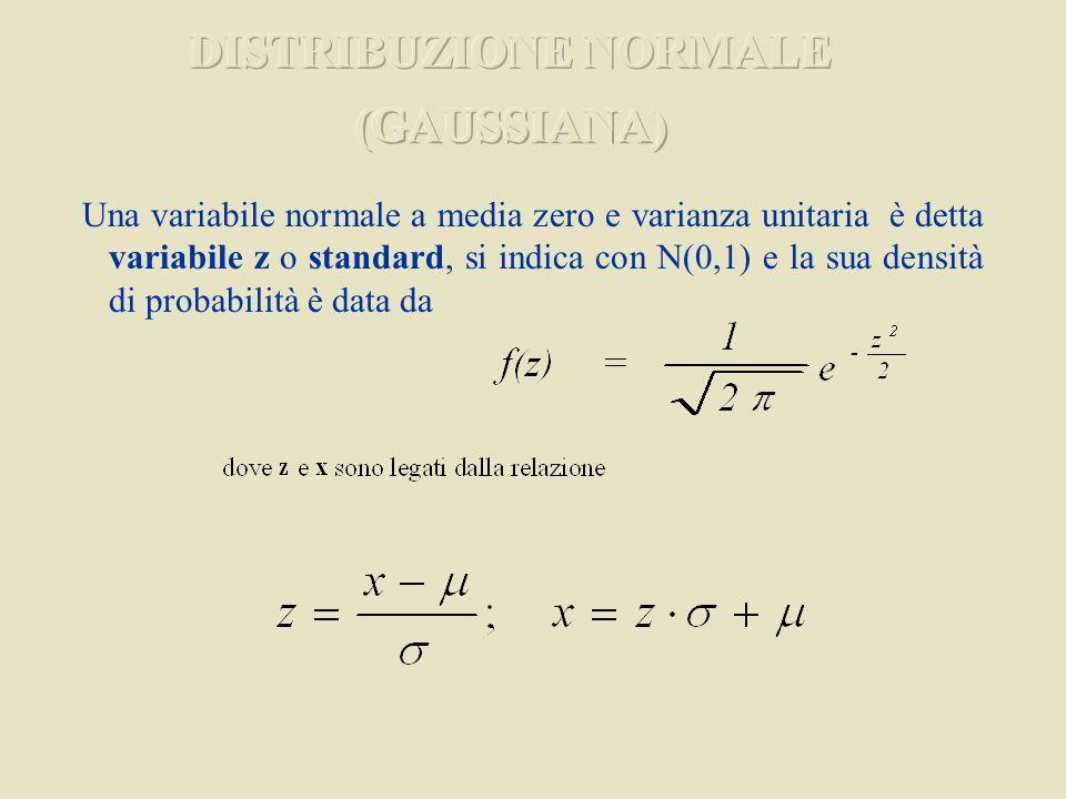 Una variabile normale a media zero e varianza unitaria è detta variabile z o standard, si indica con N(0,1) e la sua densità di probabilità è data da