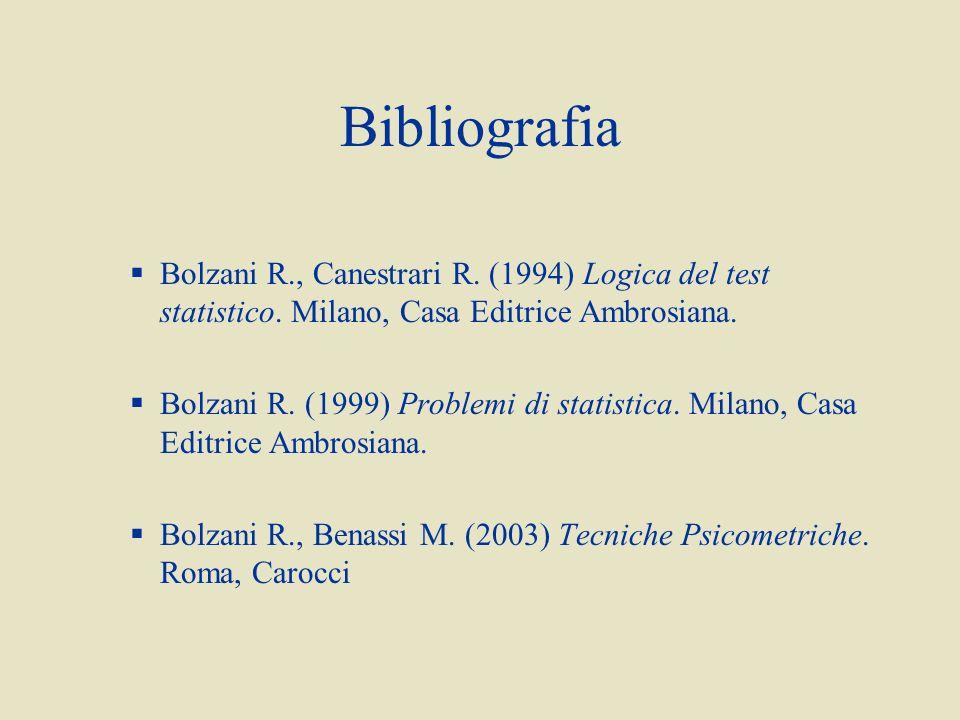 Bibliografia Bolzani R., Canestrari R.(1994) Logica del test statistico.