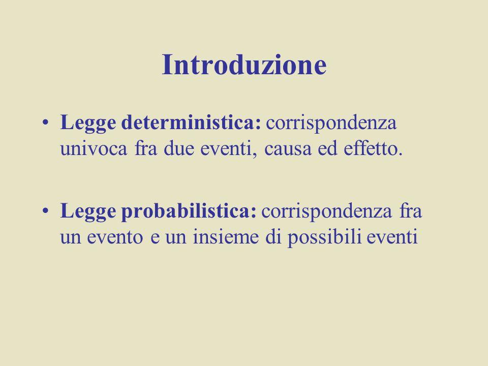 Introduzione Legge deterministica: corrispondenza univoca fra due eventi, causa ed effetto. Legge probabilistica: corrispondenza fra un evento e un in