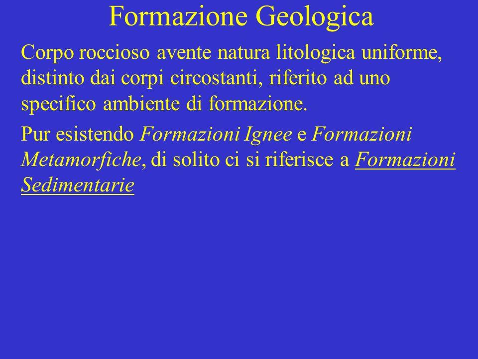 Formazione Geologica Corpo roccioso avente natura litologica uniforme, distinto dai corpi circostanti, riferito ad uno specifico ambiente di formazione.