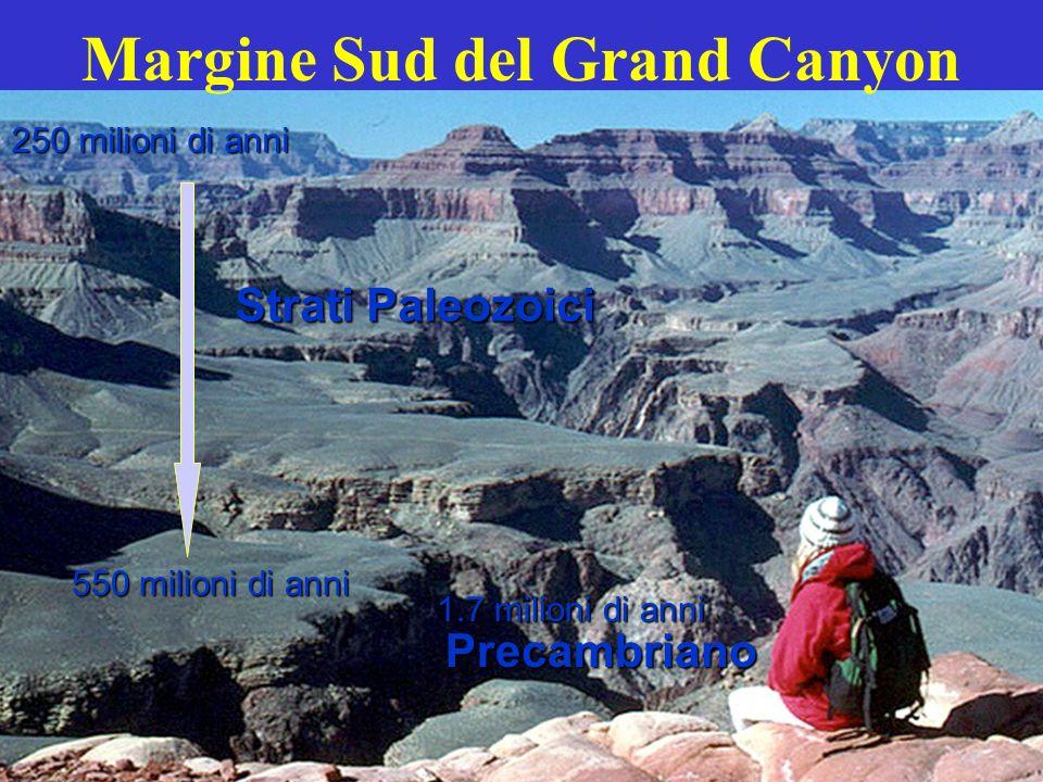 250 milioni di anni 550 milioni di anni 1.7 milioni di anni Strati Paleozoici Precambriano
