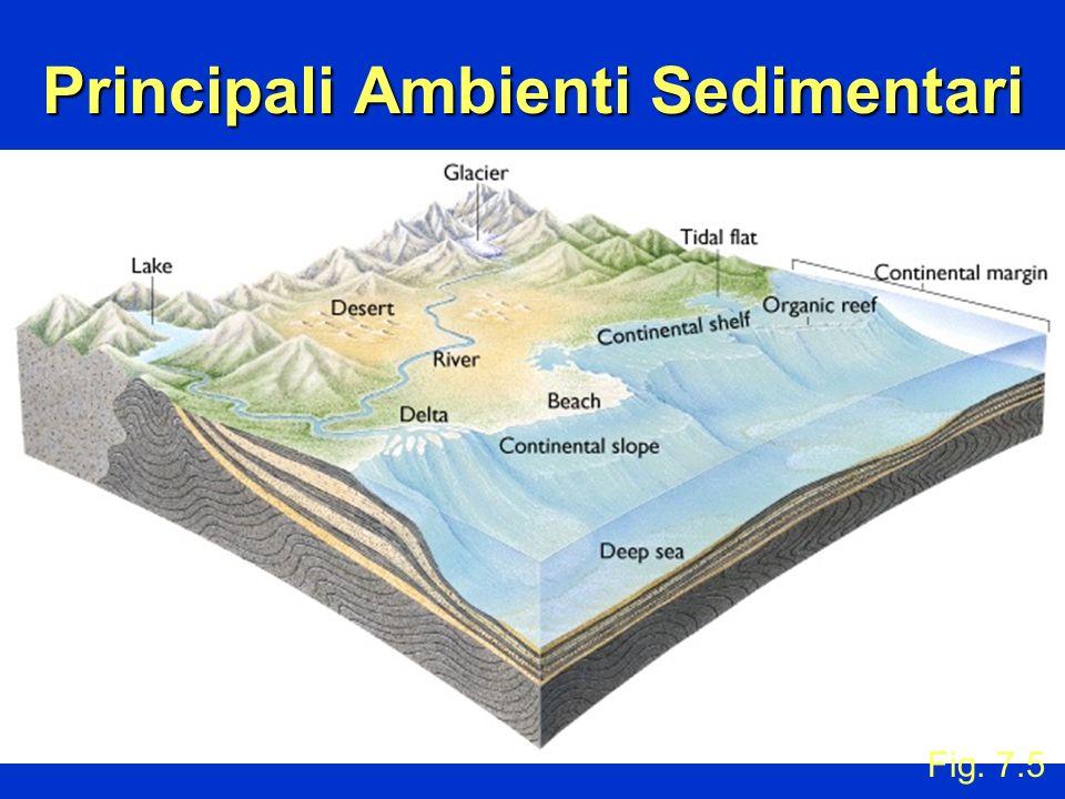 Fig. 7.5 Principali Ambienti Sedimentari