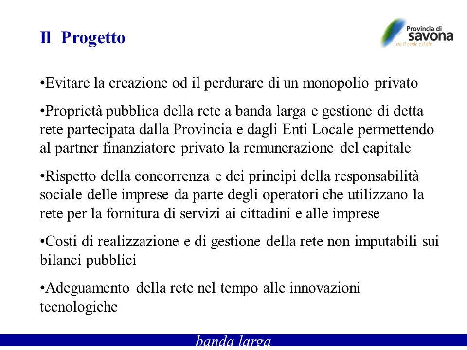 Il Progetto Evitare la creazione od il perdurare di un monopolio privato Proprietà pubblica della rete a banda larga e gestione di detta rete partecip