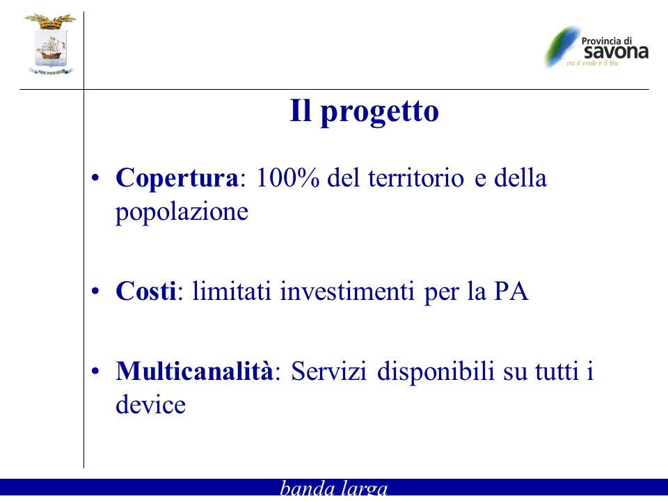 Copertura: 100% del territorio e della popolazione Costi: limitati investimenti per la PA Multicanalità: Servizi disponibili su tutti i device Il progetto