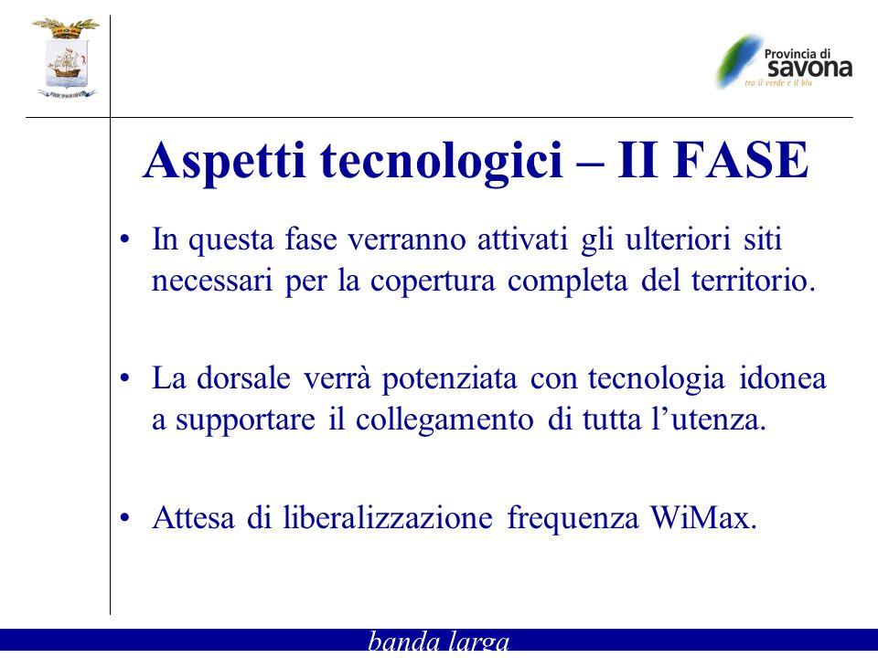 Aspetti tecnologici – II FASE In questa fase verranno attivati gli ulteriori siti necessari per la copertura completa del territorio. La dorsale verrà