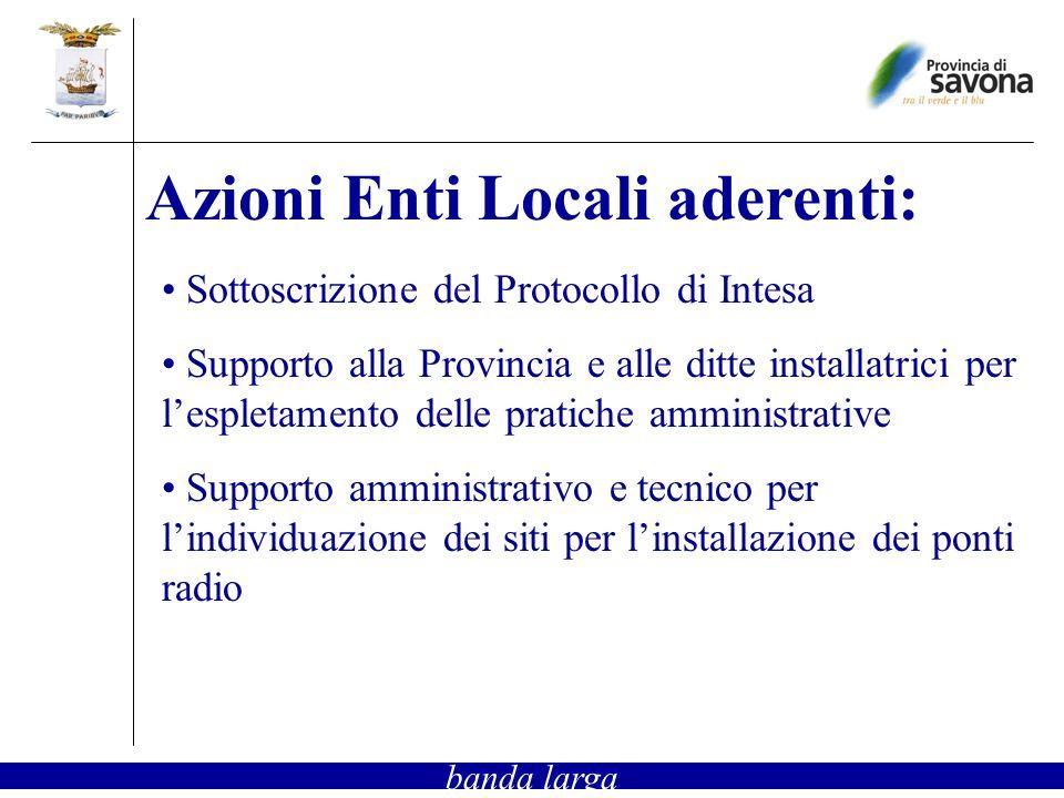 Sottoscrizione del Protocollo di Intesa Supporto alla Provincia e alle ditte installatrici per lespletamento delle pratiche amministrative Supporto amministrativo e tecnico per lindividuazione dei siti per linstallazione dei ponti radio Azioni Enti Locali aderenti: banda larga