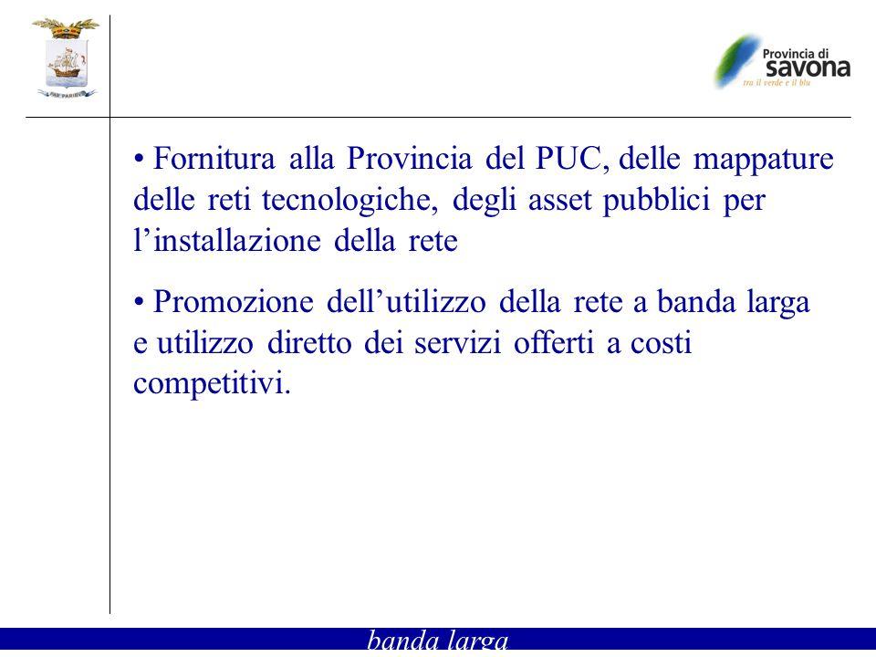 Fornitura alla Provincia del PUC, delle mappature delle reti tecnologiche, degli asset pubblici per linstallazione della rete Promozione dellutilizzo della rete a banda larga e utilizzo diretto dei servizi offerti a costi competitivi.