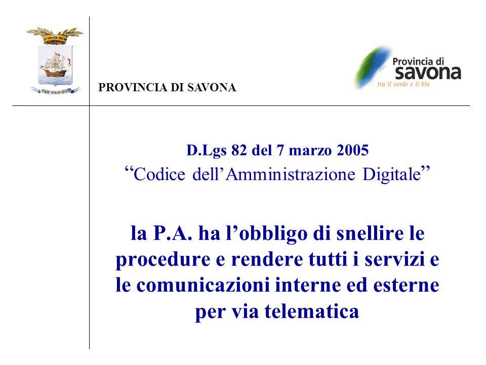 D.Lgs 82 del 7 marzo 2005 Codice dellAmministrazione Digitale la P.A. ha lobbligo di snellire le procedure e rendere tutti i servizi e le comunicazion
