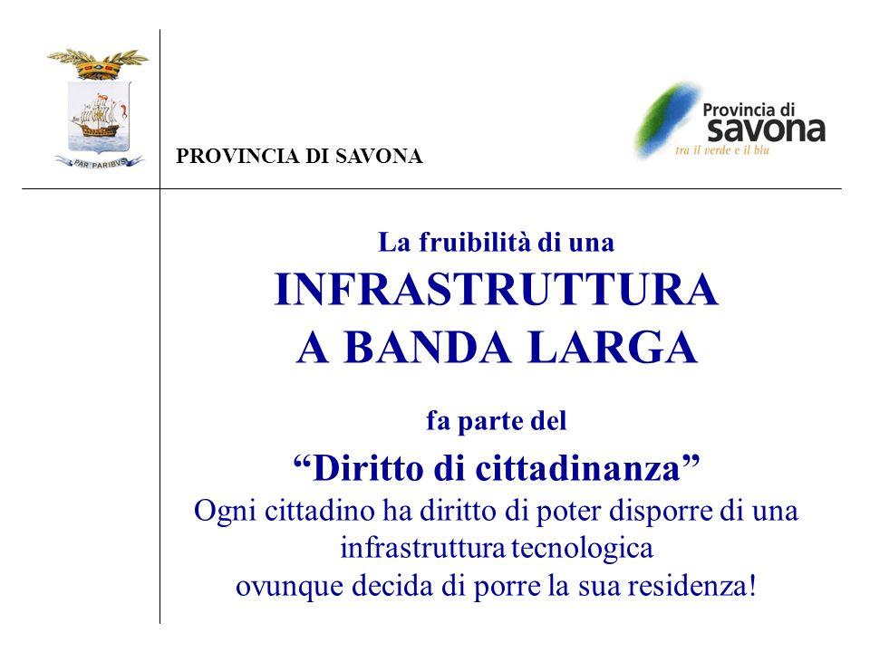 La fruibilità di una INFRASTRUTTURA A BANDA LARGA fa parte del Diritto di cittadinanza Ogni cittadino ha diritto di poter disporre di una infrastruttu