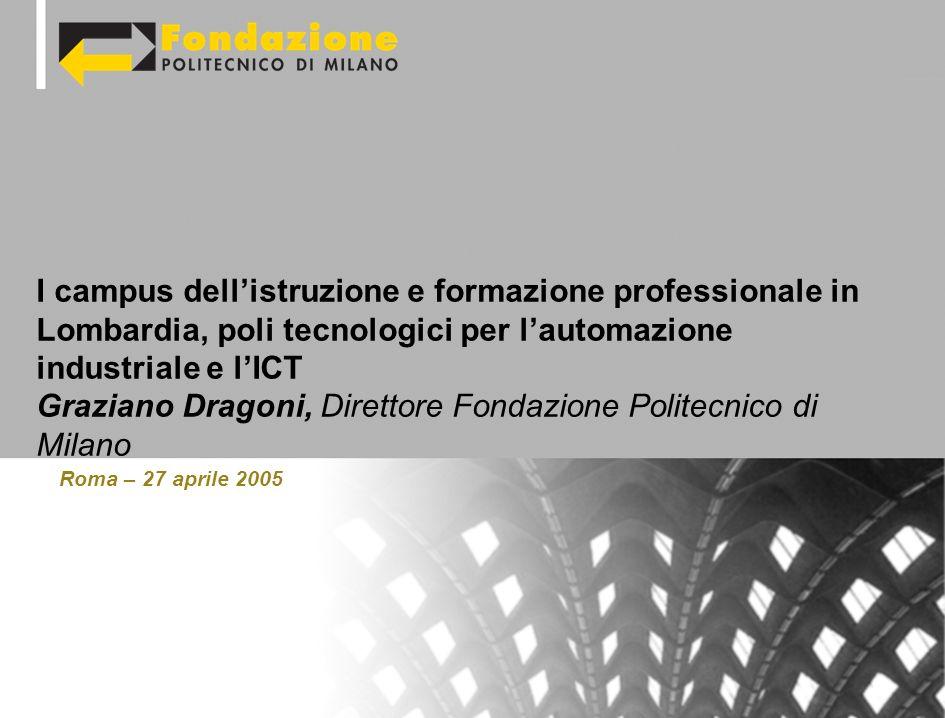 Roma – 27 aprile 2005 I campus dellistruzione e formazione professionale in Lombardia, poli tecnologici per lautomazione industriale e lICT Graziano Dragoni, Direttore Fondazione Politecnico di Milano