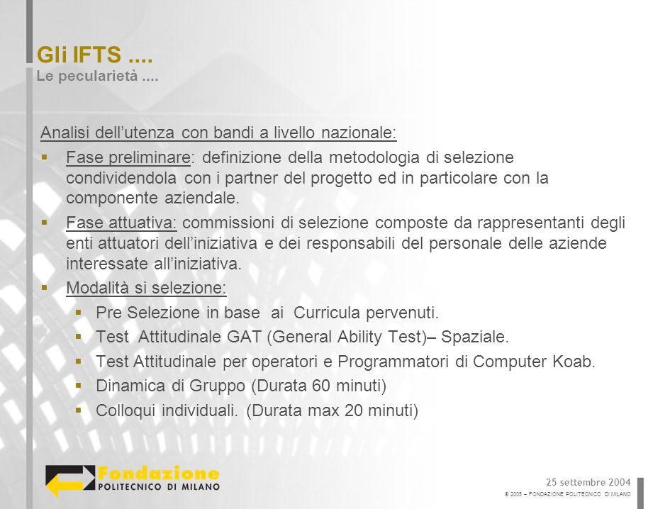 © 2005 – FONDAZIONE POLITECNICO DI MILANO Gli IFTS....