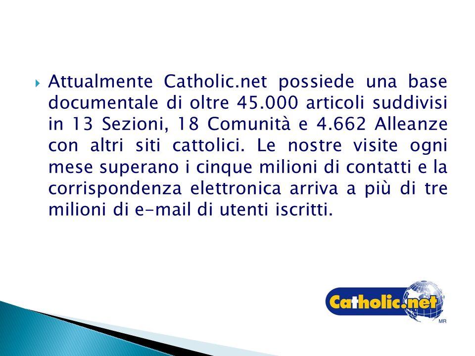 Attualmente Catholic.net possiede una base documentale di oltre 45.000 articoli suddivisi in 13 Sezioni, 18 Comunità e 4.662 Alleanze con altri siti cattolici.