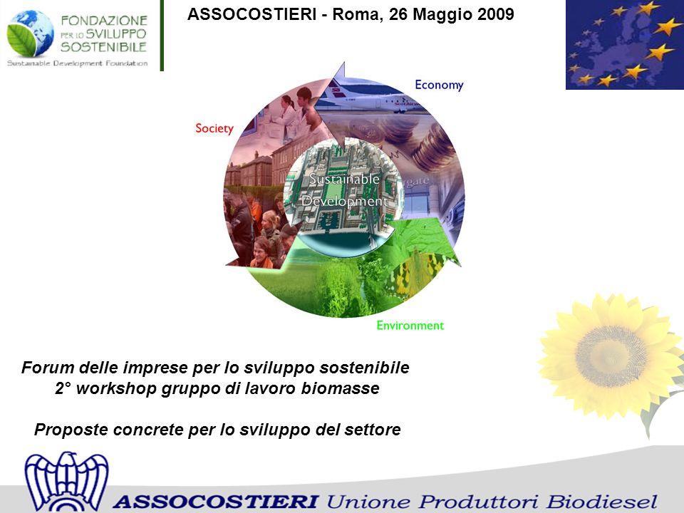 ASSOCOSTIERI - Roma, 26 Maggio 2009 Forum delle imprese per lo sviluppo sostenibile 2° workshop gruppo di lavoro biomasse Proposte concrete per lo svi