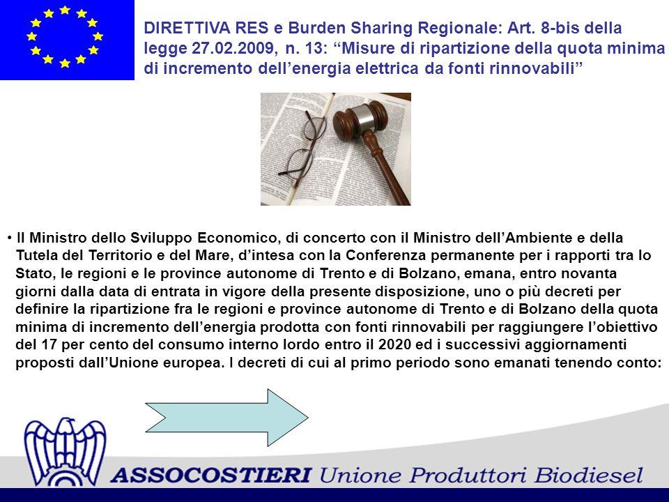 DIRETTIVA RES e Burden Sharing Regionale: Art. 8-bis della legge 27.02.2009, n. 13: Misure di ripartizione della quota minima di incremento dellenergi
