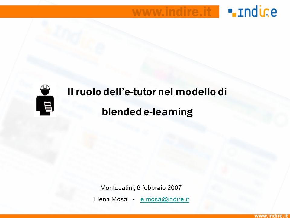 Il ruolo delle-tutor nel modello di blended e-learning Montecatini, 6 febbraio 2007 Elena Mosa - e.mosa@indire.ite.mosa@indire.it