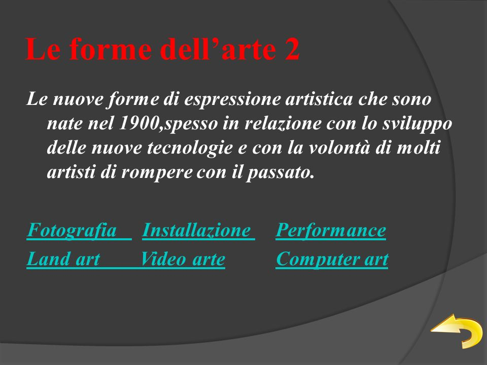 Le forme dellarte 2 Le nuove forme di espressione artistica che sono nate nel 1900,spesso in relazione con lo sviluppo delle nuove tecnologie e con la volontà di molti artisti di rompere con il passato.