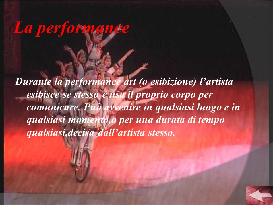 La performance Durante la performance art (o esibizione) lartista esibisce se stesso e usa il proprio corpo per comunicare. Può avvenire in qualsiasi