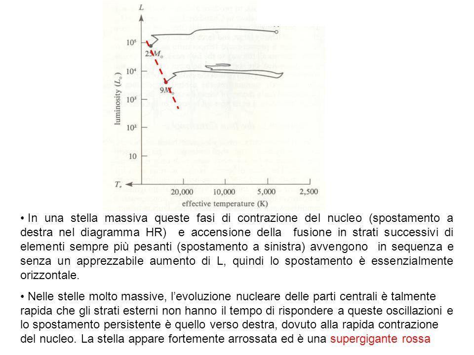 Figura 8.11 dello Shu completa In una stella massiva queste fasi di contrazione del nucleo (spostamento a destra nel diagramma HR) e accensione della fusione in strati successivi di elementi sempre più pesanti (spostamento a sinistra) avvengono in sequenza e senza un apprezzabile aumento di L, quindi lo spostamento è essenzialmente orizzontale.