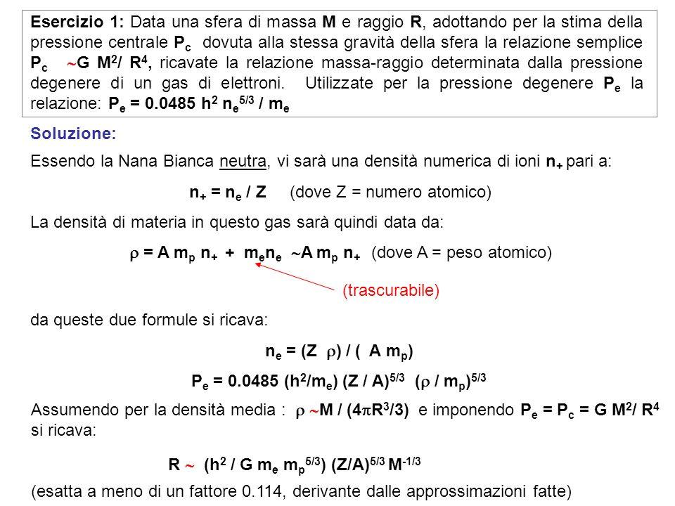 Essendo la Nana Bianca neutra, vi sarà una densità numerica di ioni n + pari a: n + = n e / Z (dove Z = numero atomico) La densità di materia in quest