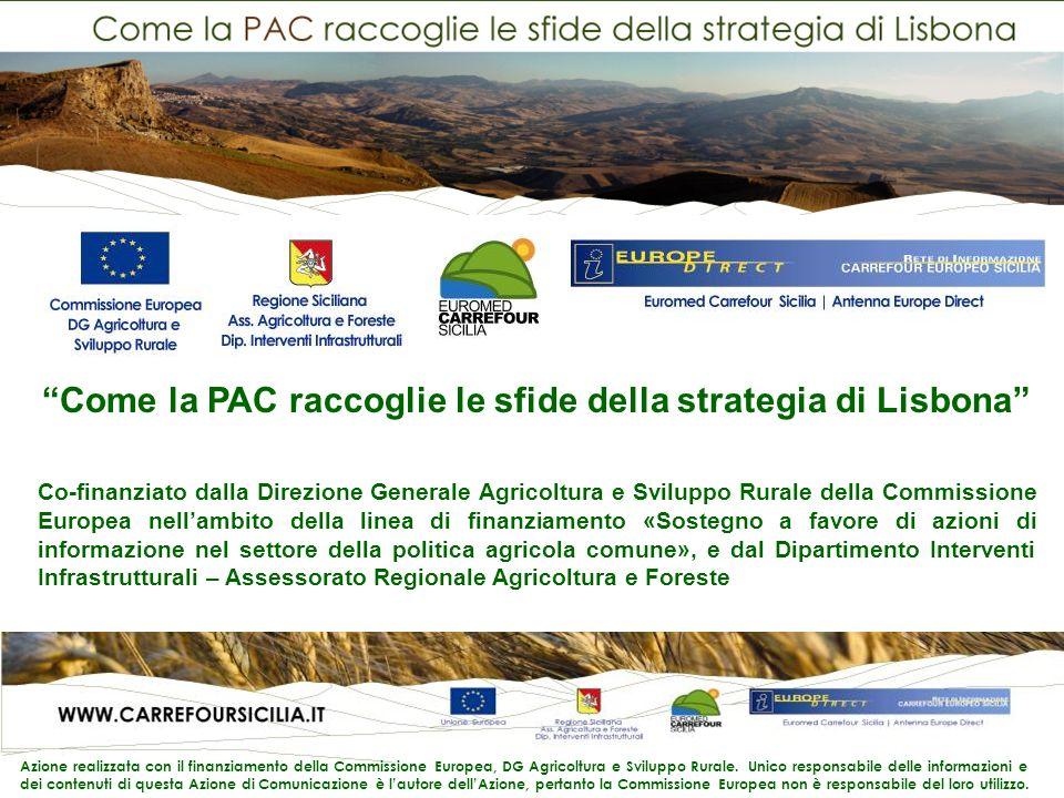Come la PAC raccoglie le sfide della strategia di Lisbona Co-finanziato dalla Direzione Generale Agricoltura e Sviluppo Rurale della Commissione Europea nellambito della linea di finanziamento «Sostegno a favore di azioni di informazione nel settore della politica agricola comune», e dal Dipartimento Interventi Infrastrutturali – Assessorato Regionale Agricoltura e Foreste Azione realizzata con il finanziamento della Commissione Europea, DG Agricoltura e Sviluppo Rurale.
