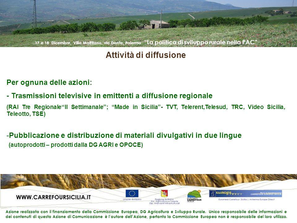 17 e 18 Dicembre, Villa Malfitano, via Dante, Palermo La politica di sviluppo rurale nella PAC Azione realizzata con il finanziamento della Commissione Europea, DG Agricoltura e Sviluppo Rurale.