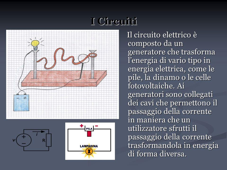 I Circuiti Il circuito elettrico è composto da un generatore che trasforma lenergia di vario tipo in energia elettrica, come le pile, la dinamo o le c