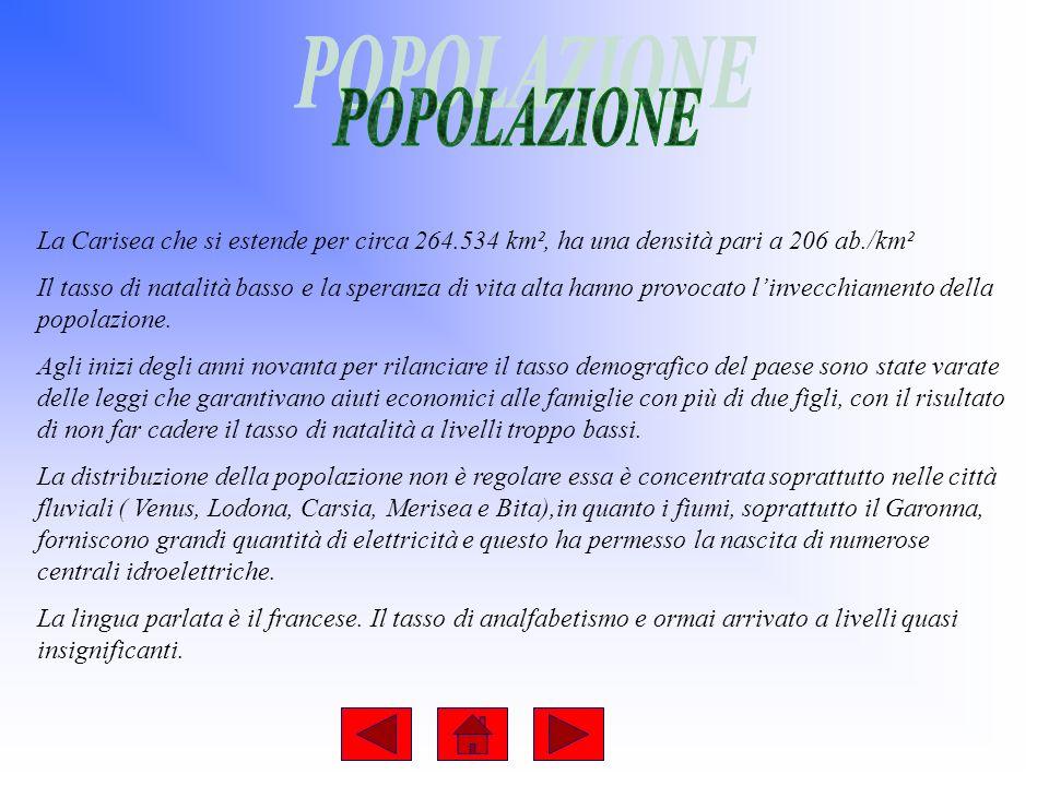 La Carisea che si estende per circa 264.534 km², ha una densità pari a 206 ab./km² Il tasso di natalità basso e la speranza di vita alta hanno provocato linvecchiamento della popolazione.