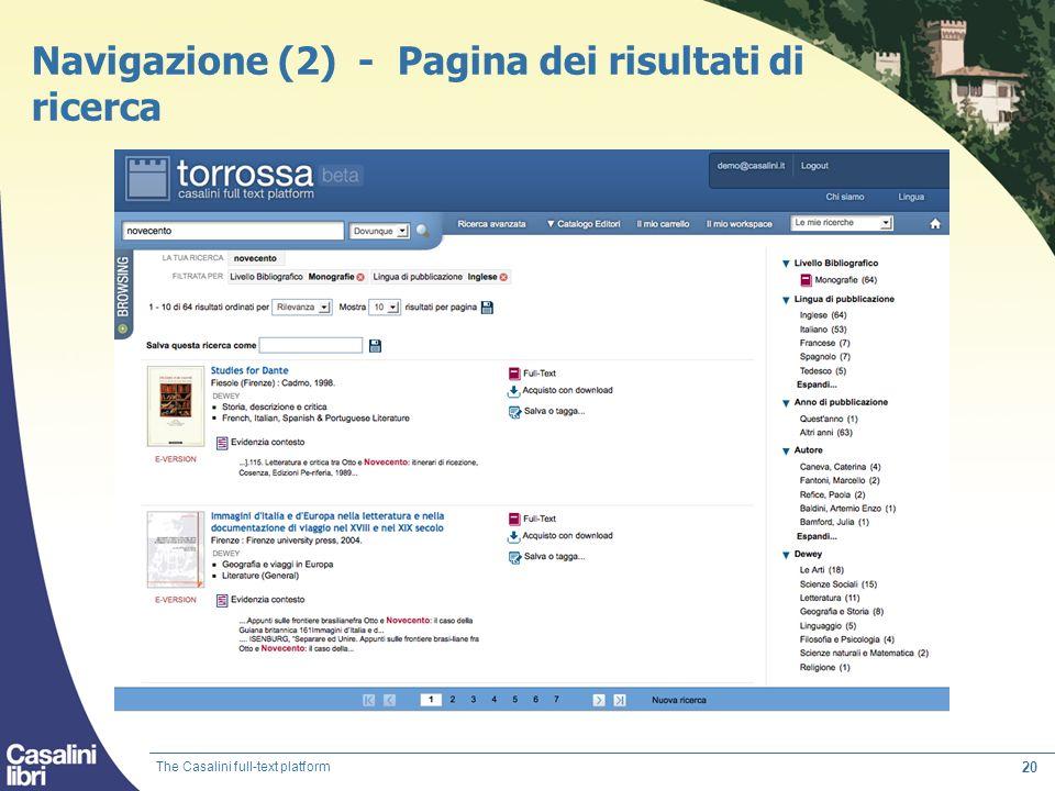 20 Navigazione (2) - Pagina dei risultati di ricerca The Casalini full-text platform