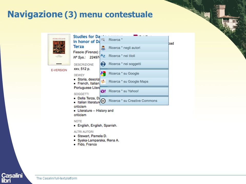Navigazione (3) menu contestuale The Casalini full-text platform