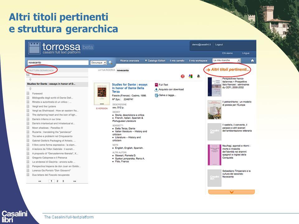Altri titoli pertinenti e struttura gerarchica The Casalini full-text platform