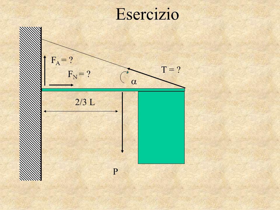 Esercizio F N = ? F A = ? 2/3 L T = ? P