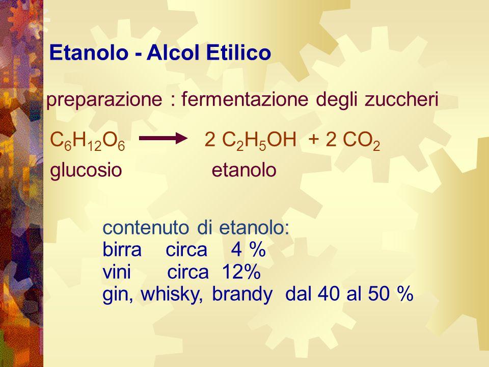 preparazione : fermentazione degli zuccheri contenuto di etanolo: birra circa 4 % vini circa 12% gin, whisky, brandy dal 40 al 50 % Etanolo - Alcol Et
