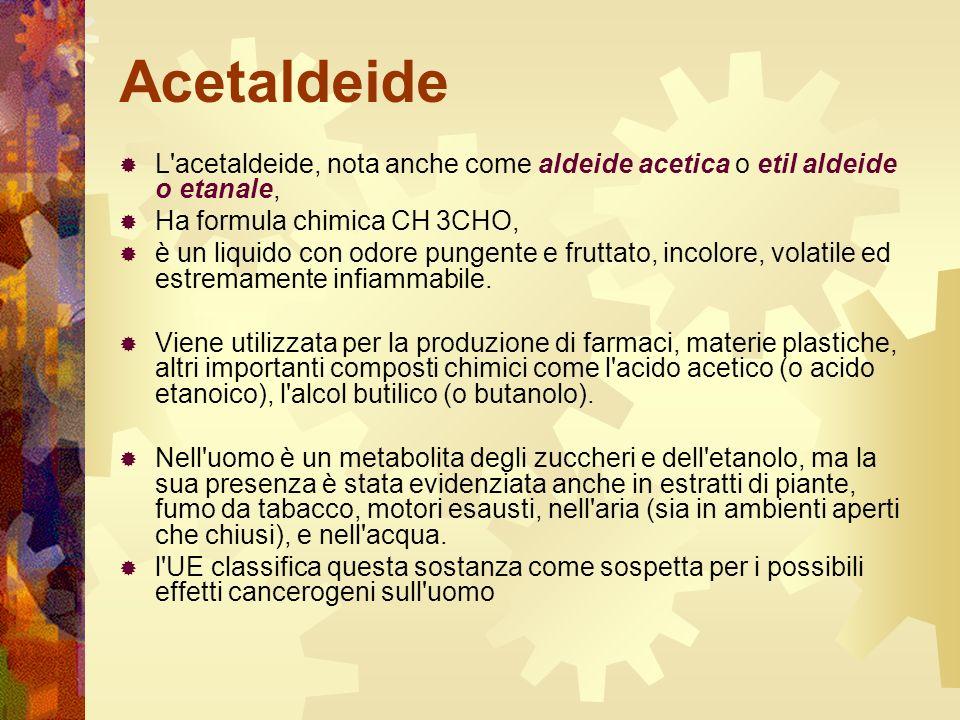 Acetaldeide L'acetaldeide, nota anche come aldeide acetica o etil aldeide o etanale, Ha formula chimica CH 3CHO, è un liquido con odore pungente e fru