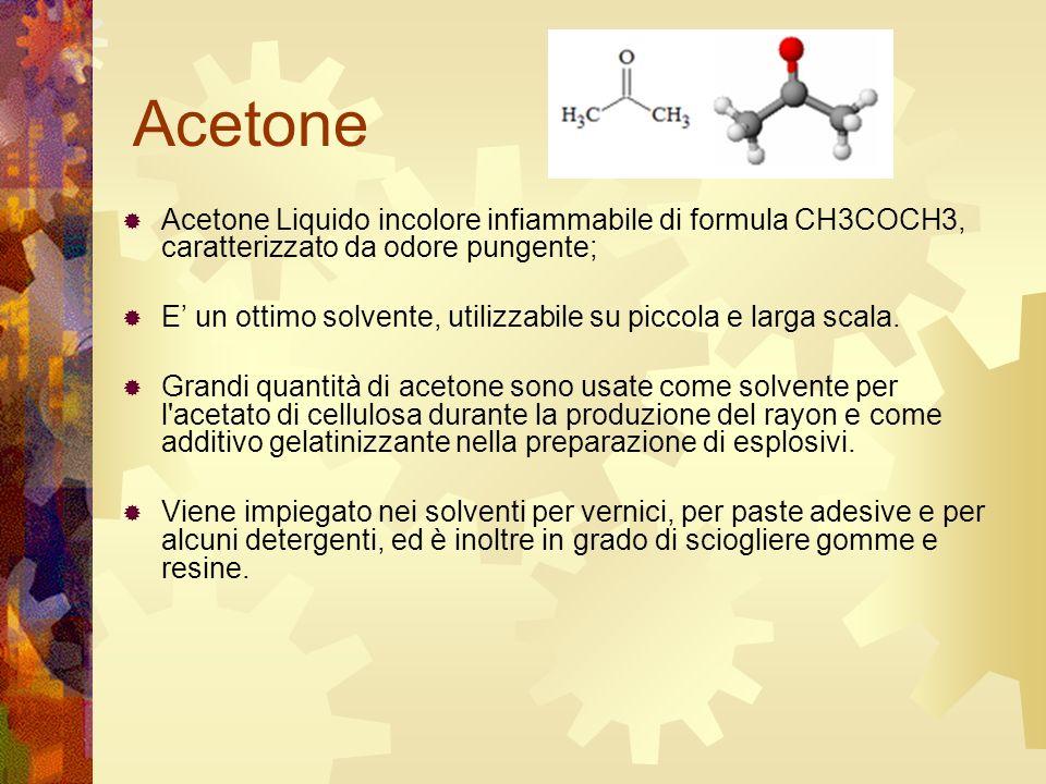 Acetone Acetone Liquido incolore infiammabile di formula CH3COCH3, caratterizzato da odore pungente; E un ottimo solvente, utilizzabile su piccola e l