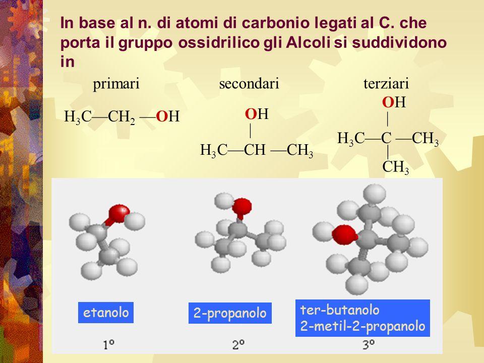 etanolo 2-propanolo ter-butanolo 2-metil-2-propanolo H 3 CCH 2 OH H 3 CCH CH 3 OH | H 3 CC CH 3 OH | CH 3 primarisecondariterziari In base al n. di at