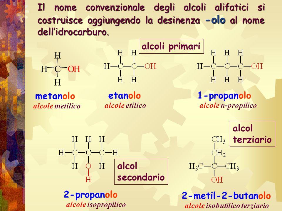 Il nome convenzionale degli alcoli alifatici si costruisce aggiungendo la desinenza -olo al nome dellidrocarburo. metanolo etanolo alcole metilico alc
