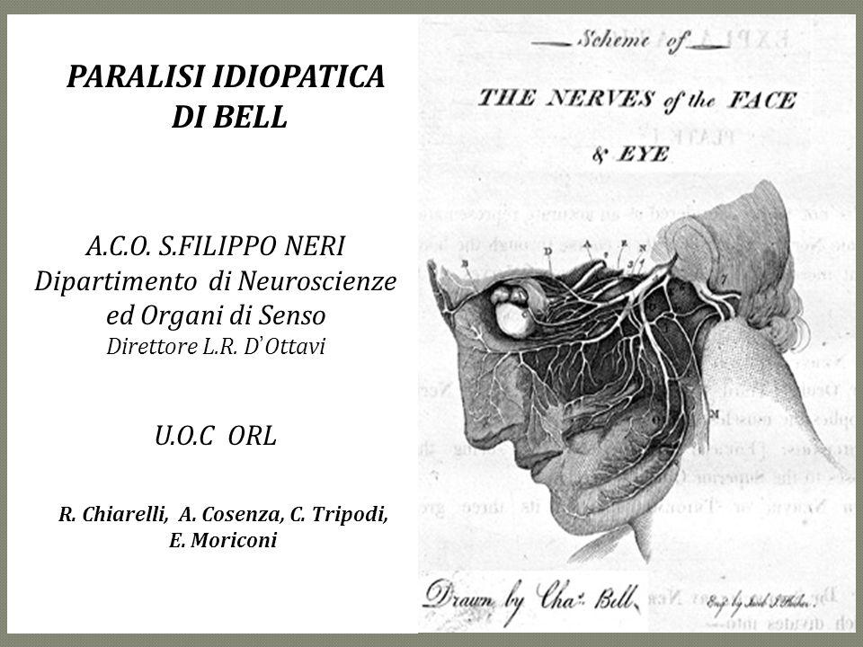 A.C.O. S.FILIPPO NERI Dipartimento di Neuroscienze ed Organi di Senso Direttore L.R. DOttavi U.O.C ORL R. Chiarelli, A. Cosenza, C. Tripodi, E. Morico