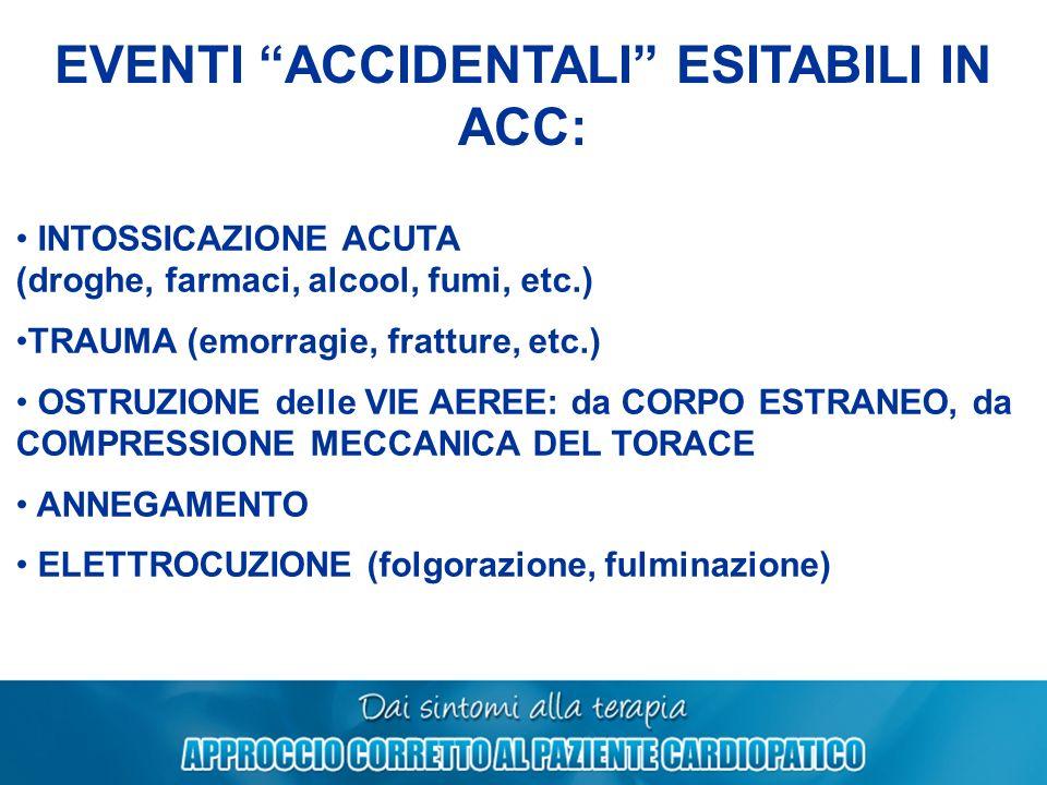 EVENTI ACCIDENTALI ESITABILI IN ACC: INTOSSICAZIONE ACUTA (droghe, farmaci, alcool, fumi, etc.) TRAUMA (emorragie, fratture, etc.) OSTRUZIONE delle VI