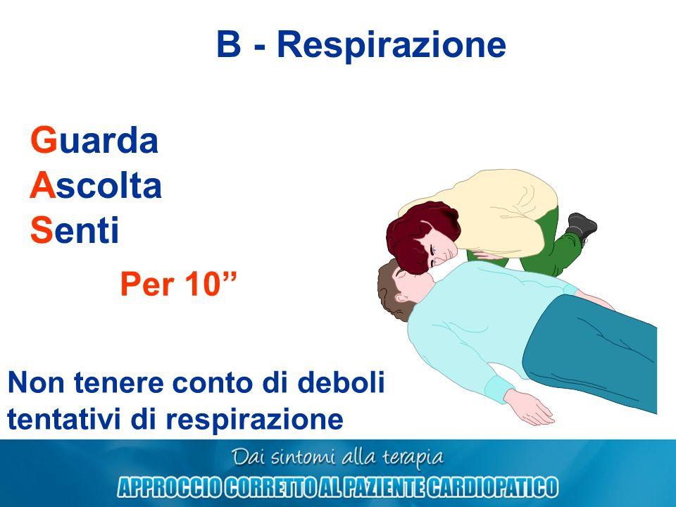 B - Respirazione Guarda Ascolta Senti Per 10 Non tenere conto di deboli tentativi di respirazione