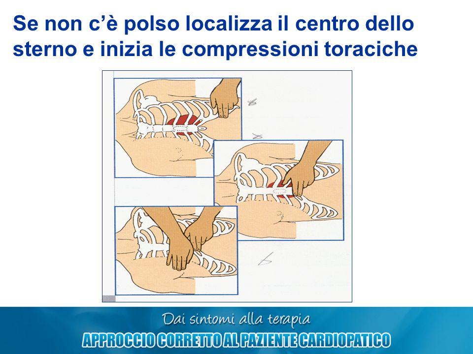 Se non cè polso localizza il centro dello sterno e inizia le compressioni toraciche